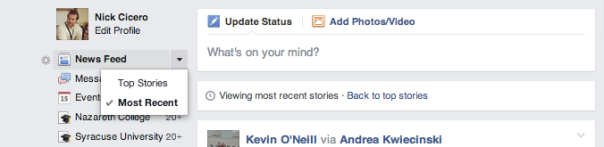 top stories most recent facebook settings changes news feed