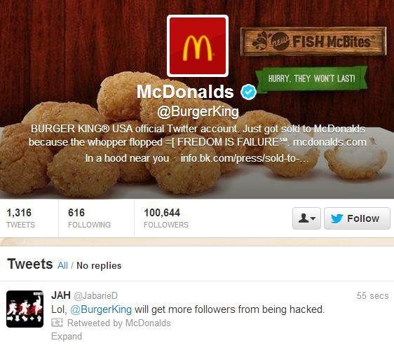 Burger King Twitter Account Hacked