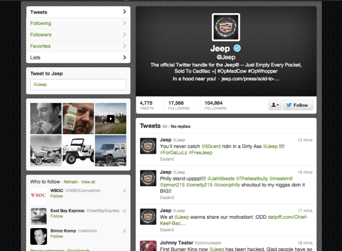 jeep twitter hacked