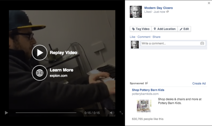 facebook video call to action