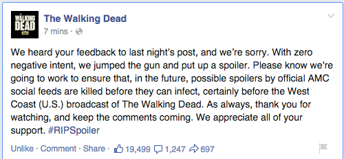 the walking dead apology